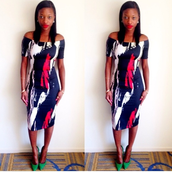 H&M Dresses & Skirts - Black, Red & White Off Shoulder Midi-Dress